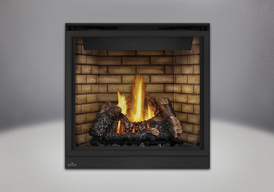Bûches PHAZER<sup>®</sup>, panneaux décoratifs simili-briques en fini pierre de sable et écran de protection