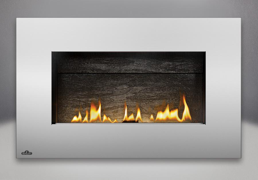 Panneaux décoratifs en fini ardoise, contour rectangulaire en acier inoxydable