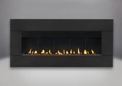 Contour rectangulaire en fini peint noir avec brûleur au propane