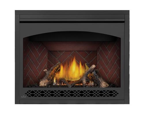 Ensemble de bûches de chêne de luxe, panneaux décoratifs simili-briques victoriens rouge rustique et façade Héritage