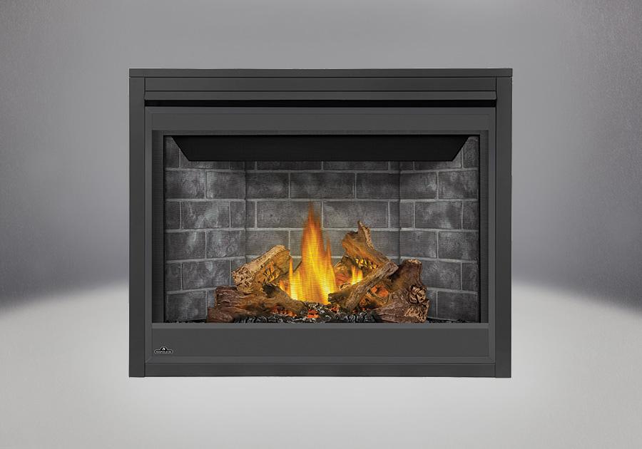 Ensemble de bûches PHAZER<sup>®</sup>, Panneaux décoratifs simili-briques classique gris, écran de protection