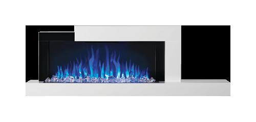 Foyer Stylus<sup>MD</sup> illustré avec un lit de braises et un jeu de flammes réglé sur le bleu