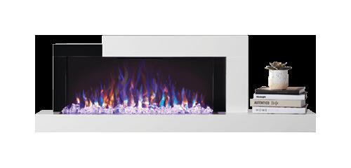 Foyer Stylus<sup>MD</sup> illustré avec un lit de braises à DEL violette et un jeu de flammes réglé sur multicolore