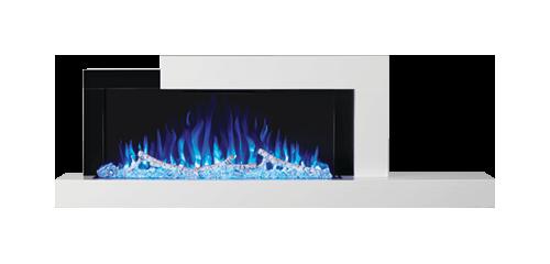 Foyer Stylus<sup>MD</sup> illustré avec un lit de braises à DEL bleue, un jeu de flammes réglé sur le bleu et un ensemble de bûches de bouleau