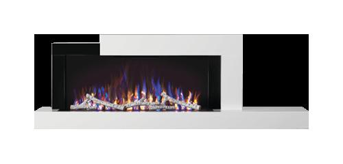 Foyer Stylus<sup>MD</sup> illustré avec un jeu de flammes réglé sur multicolore et un ensemble de bûches de bouleau